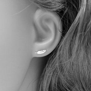 Sterling Silver Stud Feather Earrings